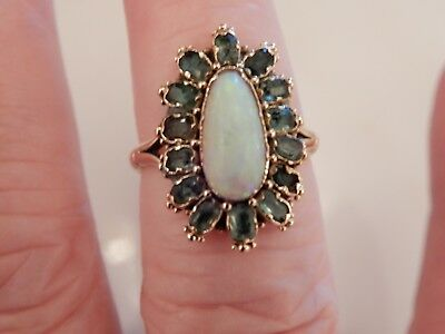 A Superb Art Deco 9 Ct Gold 4.00 Carat Opal And Emerald Cluster Ring