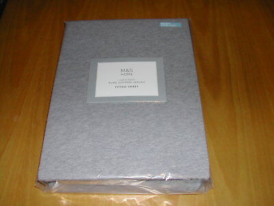 Double Fitted Sheet  -  M & S  -  Pure Cotton Jersey  -  Grey  -  Bnwt