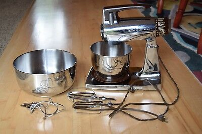Vintage Sunbeam Mixmaster 12Speed Stand Mixer Chrome/Brown 2 Bowls 2 Sets Beater