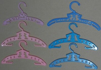 6 Vintage Children Toddler's Pink & Blue Plastic Animal+Alphabet Clothes Hangers