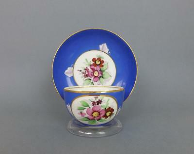 Antique Russian Porcelain Floral Cup and Saucer by Gardner factory circa 1850#1