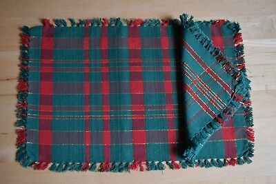 8 Red/Green Plaid w/Gold Christmas Holiday Placemats & 8 Matching Napkins NEW