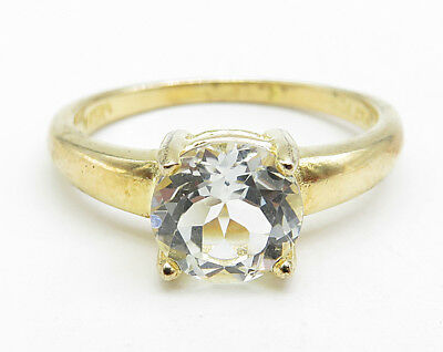 925 Sterling Silver - Round Cut Topaz Solitaire Ring 2.6g - Sz 7 (12918)
