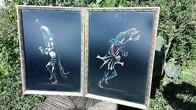 Vintage Original Native Ceremonial Dance Figure Black Felt Painting Pair