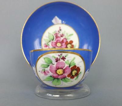 Antique Russian Porcelain Floral Cup and Saucer by Gardner factory circa 1850#2