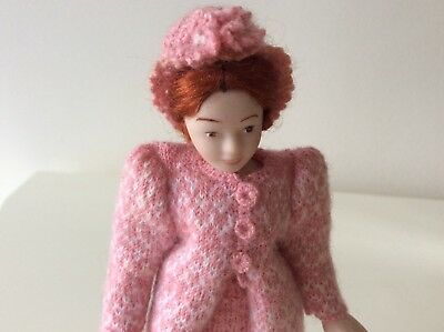 Dolls house miniature 1:12 porcelain lady doll in handmade knitted outfit