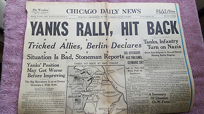 Original WWII Chicago Daily YANKS RALLY HIT BACK - Battle of the Bulge 1944