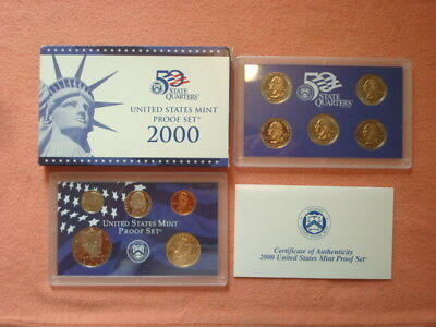 2000-S Us Mint Clad Proof Set In Ogp With Coa 10 Coins