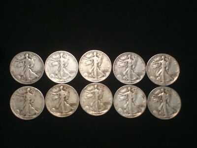 Walking Liberty Half Dollars 1/2 Roll Lot Of 10  $5 Face Value  90% Silver L2