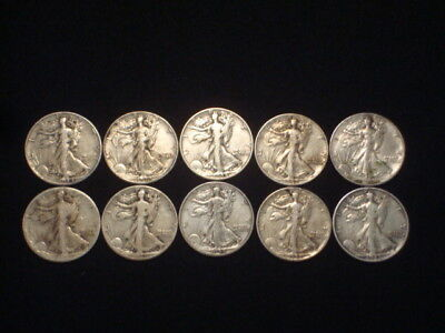 Walking Liberty Half Dollars 1/2 Roll Lot Of 10  $5 Face Value  90% Silver L3