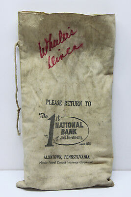 Vintage 1st National Bank of Allentown PA Canvas Money Deposit Coin Carry Bag