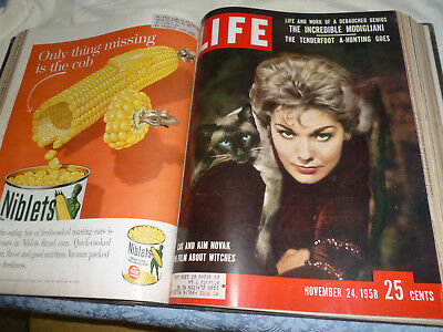 Vintage Life Magazine HC Bound Oct-Dec 1958 /  13 Collectable Issues