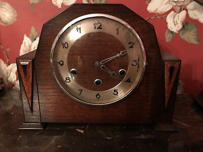 """Vintage """"Foreign"""" German Mantel Clock with Chimes"""