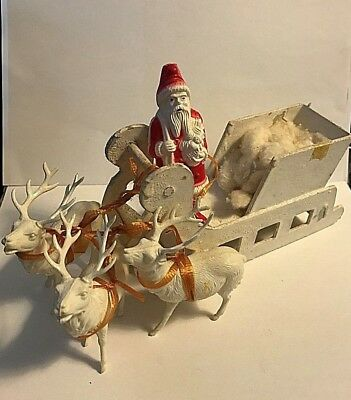 ANTIQUE VINTAGE Paper Mache SLEIGH with  CELLULOID SANTA & REINDEER