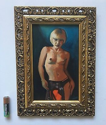 Oil Painting Nude Study Of A Woman Femme Fatale Pirerced Gilt Wood Frame