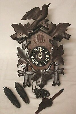 Antique Vintage Black Forest German Cuckoo Clock for Parts Restore GERMAN MADE