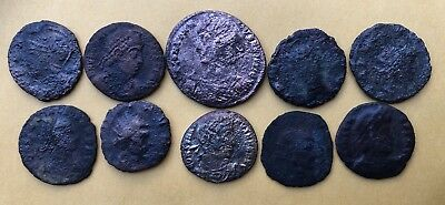 16 Authentic Ancient Roman Coins - Uncleaned & Partially Cleaned AE3 AE4 BONUS