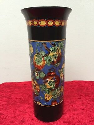 Rare Art Deco, Crown Ducal, 'Canton Chintz' Chinese Lanterns 8' Vase c.1925