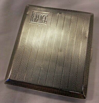 95 Grams 1930 Solid Sterling Cigarette Case Art Deo Engine Turned & Greek Key