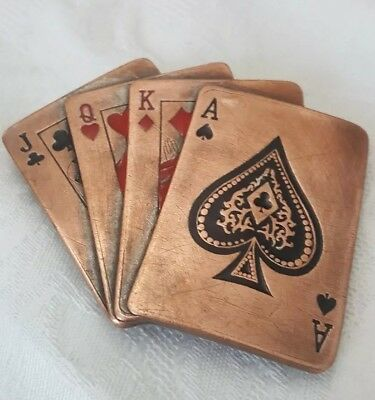 Copper Tone Playing Cards Belt Buckle
