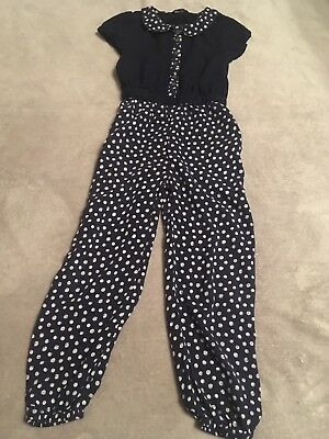 Girls Navy Blue Jumpsuit outfit Xmas Party 5-6 Blouse Top Blouse Spotty Trousers