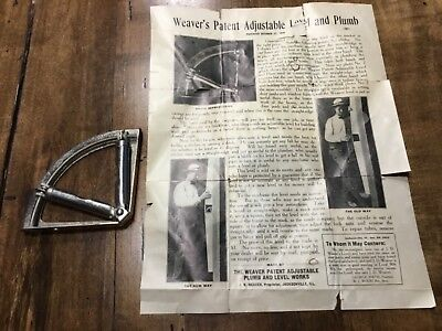 Vintage Weavers Patent Adjustable Level And Plumb Pat. October 27, 1908