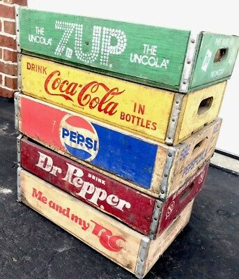 5 Vintage Wood Soda Pop Crates Coke Pepsi 7up RC  Cola Dr Pepper Lot