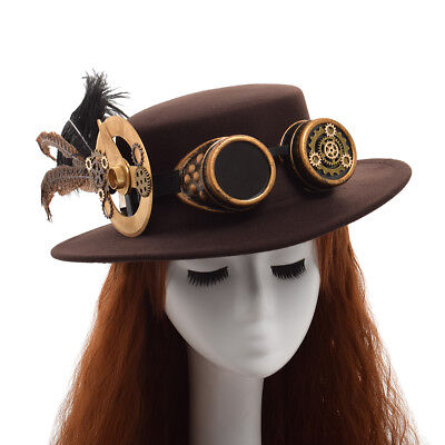 Unisex Steampunk Gothic Hat Gear Feather Vintage Brown Hat Victorian Cosplay