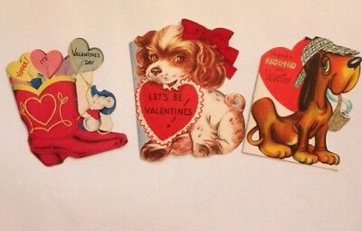 Lot Of 3 Used Vintage 1950s Valentines Day Cards