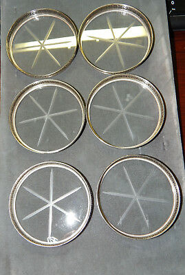 Set of 6 Webster Sterling Silver Coasters with Etched Glass