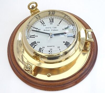 "Handsome Wall Mounted Brass & Hardwood Ships Port Hole Style Clock 10"" Quartz"