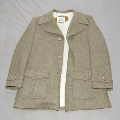 WOOLRICH Vintage Mens Pure Virgin Wool Pea Coat Jacket Tweed Green Lined L (44)