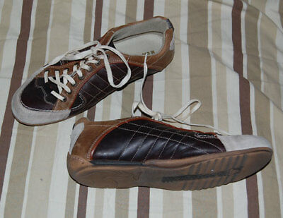 €109 LE COQ SPORTIF Rare Brown Mens Leather Sneakers UK 9.5 EU 44 US 10