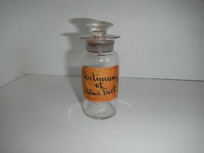 Antique Apothecary Pharmacy Bottle With Glass Stopper Antimony Potassium Tartrat