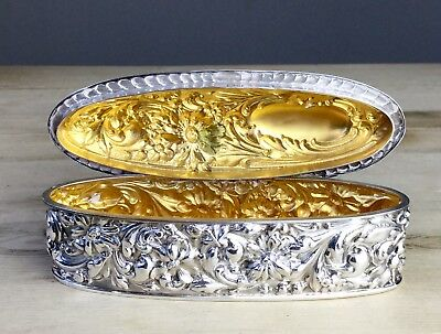 Antique Solid Sterling Silver Gilt Lined Repousse Box Chester 1902 Trevitt & Son