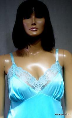 VINTAGE DOUBLE LAYER SILKY SHEER TURQUOISE NYLON & LACE FULL SLIP  Lg