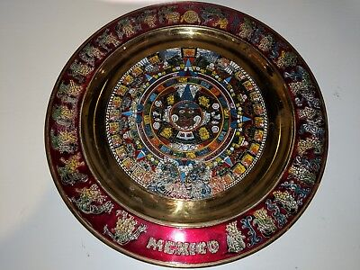 "Mexico Mayan / Aztec Decorative Plate to Hang On Wall 11"" Round Brass Red"