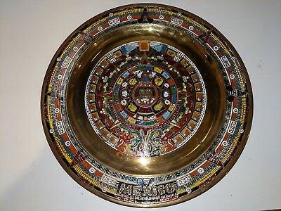 "Mexico Mayan / Aztec Decorative Plate to Hang On Wall 11"" Round Brass Black"
