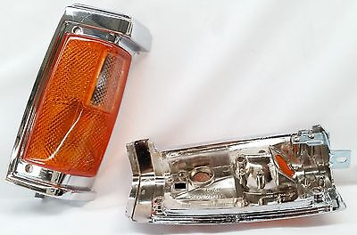 FRONT CORNER INDICATOR LIGHTS LAMPS CHROME PAIR DS034 for NISSAN NAVARA D21