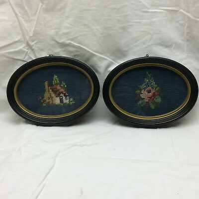 Vintage Framed Knit Needlepoint lot of 2 Floral Motif and House needlework