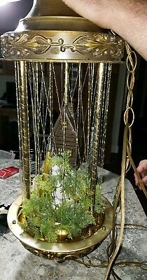"""Vtg 70's OLD GRIST MILL Hanging Swag Rain Oil Lamp 32"""" Tall hanging light works"""