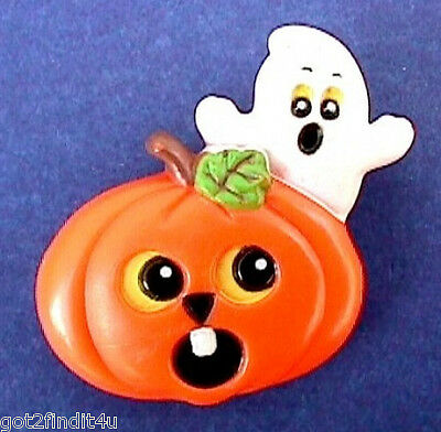 BUY1&GET1@50%~Russ PIN Halloween 👻 GHOST Spooky JOL PUMPKIN Vtg Holiday Brooch