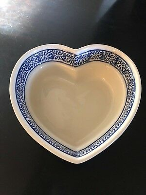 Christmas Heart Shaped Boleslawiec Polish Pottery Dish! Excellent