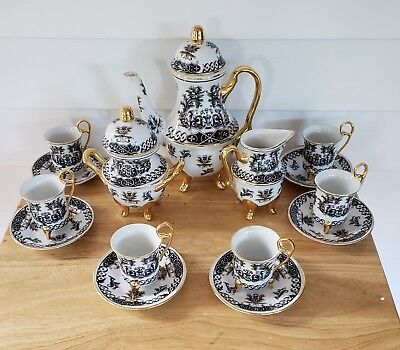 Child's Vintage Coffee / Tea Set ~Complete~ 17 Pieces In Orig Box ~Never Used~