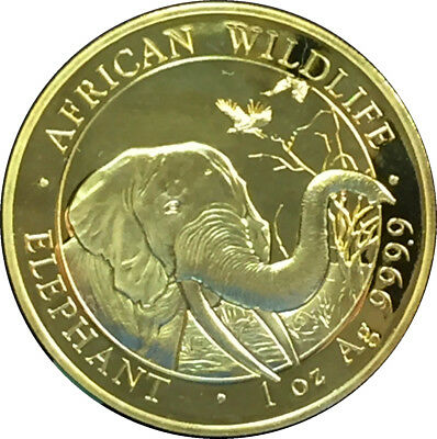 2018 Somali Elephant 1 oz .999 Silver 24K Gold African Wildlife with Capsule