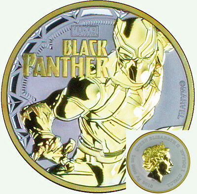 2018 Black Panther Marvel Series 1 oz Ounce Silver Coin 24k Gold Gilded