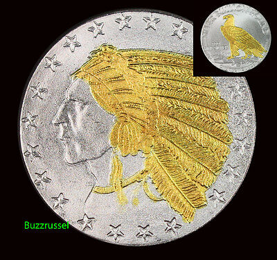 Indian Head Incuse 1 Troy Oz .999 Fine Silver Highland Mint 24K Gold Gilded
