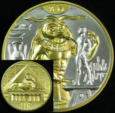 Egyptian Gods Series Khnum Ultra High Relief 2 oz .999 Silver BU Round 24K Gold
