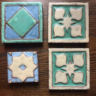 "Grueby Pottery matte glaze tile Arts & Crafts Mission 4x4"" antique geometric"