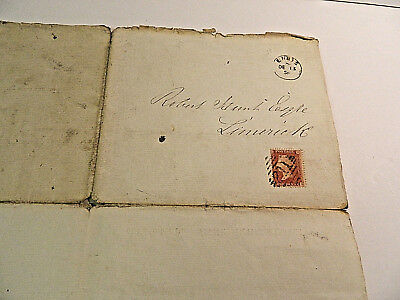 Irish History and Postal History - entire Indenture Ennis and Limerick 1858